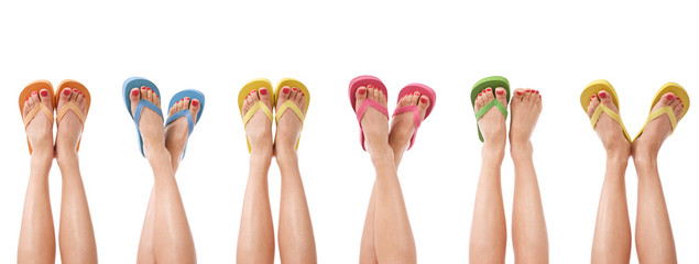 Legs and summer flip flops isolated on white banner