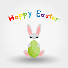 Easter bunny with egg. Icon. Vector. Flat.