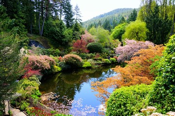 Foto auf Acrylglas Garten Butchart Gardens, Victoria, Canada. View over a pond in the sunken garden with vibrant spring flowers.