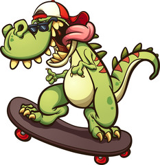 Rad cartoon skateboarding t-rex. Vector clip art illustration with simple gradients. All in a single layer.