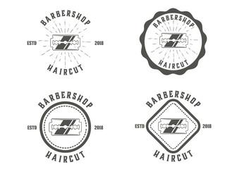 Barber shop vector vintage round badges, emblems, labels or logos sets