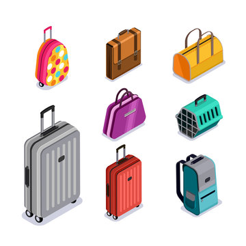 Vector baggage isolated 3d isometric style icons. Multicolor luggage, suitcase, bags, backpack, carrying animals. Checked baggage, carry-on and hand luggage for traveling by aircraft.