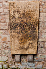 Medieval memorial tombstone at Jedburgh Abbey in the Scottish Borders, Scotland