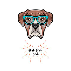 Boxer dog wearing in glasses. Boxer geek. Vector illustration.
