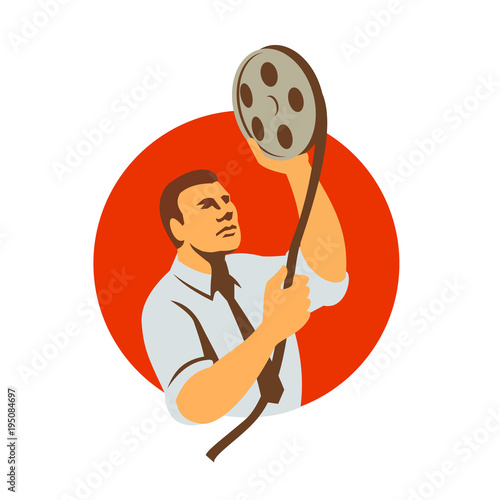 Retro style illustration of a film editor holding a film