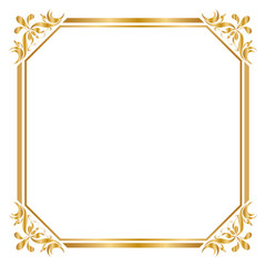 Decorative frame and border, Square, Golden frame on white background, Vector illustratio