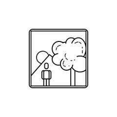 picture of a man in nature icon. Media signs for mobile concept and web apps. Thin line  icon for website design and development, app development. Premium icon
