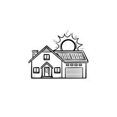 Power efficient house hand drawn outline doodle icon. Residential house using solar energy vector sketch illustration for print, web, mobile and infographics isolated on white background.