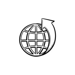 Globe with latitudes hand drawn outline doodle icon. Ecosystem concept. Vector sketch illustration of world globe for print, web, mobile and infographics isolated on white background.
