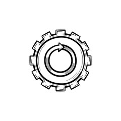 Metal gear hand drawn outline doodle icon. Cog wheel vector sketch illustration for print, web, mobile and infographics isolated on white background.