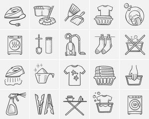Laundry sketch icon set for web, mobile and infographics. Hand drawn Laundry vector icon set isolated on white background.