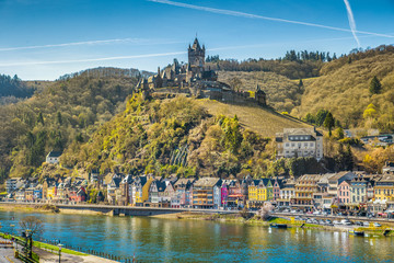Historic town of Cochem with Moselle river, Rheinland-Pfalz, Germany
