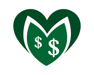 currency green love heart dollar ornament image vector icon symbol