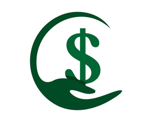 hand green dollar ornament image vector icon symbol