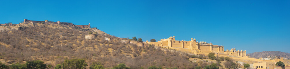 Panorama of Amer Fort and surrounding hills and fortress walls