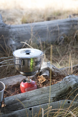 A simple camp cooking set-up with steam rising from the pot