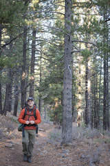 Man on backpacking trip
