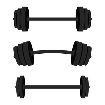 Set of barbells. Black barbells for gym, fitness and athletic centre. Weightlifting and bodybuilding equipment