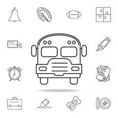 school bus icon. Detailed set of education outline icons. Premium quality graphic design. One of the collection icons for websites, web design, mobile app