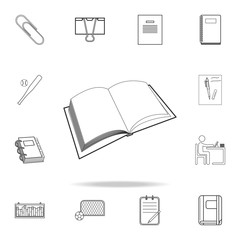 open book icon. Detailed set of education outline icons. Premium quality graphic design. One of the collection icons for websites, web design, mobile app