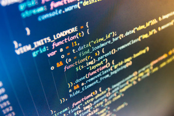 Innovative startup project. Software abstract background. Server logs analysis. Software engineer at work. WWW software development. Programming code typing. HTML website structure.