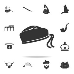 Scottish national hat icon. Detailed set of United Kingdom culture icons. Premium quality graphic design. One of the collection icons for websites, web design, mobile app