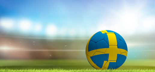 Sweden soccer football ball 3d rendering