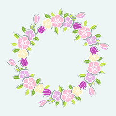 Pink flowers wreath isolated on blue background. Template with flowers for party invitation, greeting card, postcard, girl birthday, Mother's Day, Woman's Day, Warm Season Card. Vector illustration.