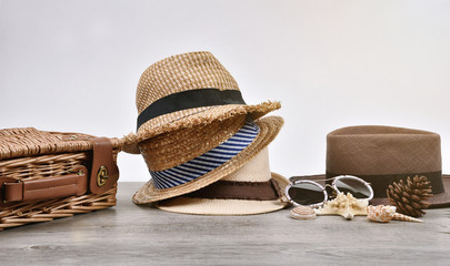 Summer accessories and fashion, Set of straw hats, Different type of style comparison.