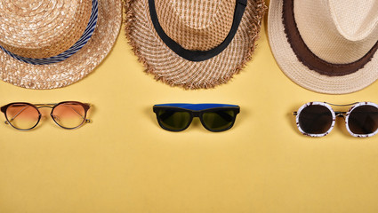 Summer accessories and fashion, Set of sunglasses and straw hats, Different type of style comparison.