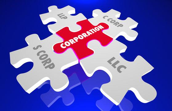 LLC LLP S C Corp Incorporation Puzzle Pieces 3d Illustration