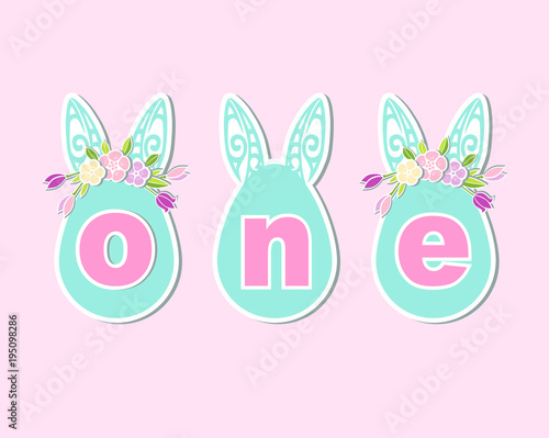 Vector Illustration One With Bunny Ears And Flower Wreath - Bunny birthday invitation template