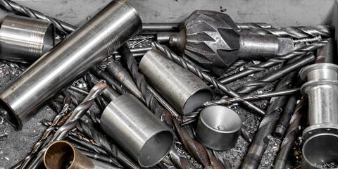 Vintage antique automotive machine shop assortment of drill bits and deburring tools