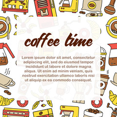 Coffee seamless pattern. Flat line icons.