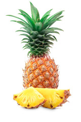 pineapple sliced solated on a white background.