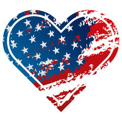 american flag in heart grunge style icon
