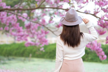 Rear view of young woman with cherry blossom garden in Spring day