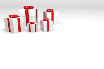 fünf weiße geschenkkartons