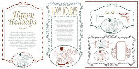 Happy holidays. Set for creating flyer, web  and invitations or greeting cards.