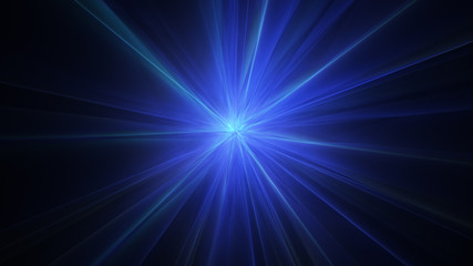 Blue radial light rays abstract background