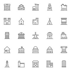 Landmarks and building outline icons set. linear symbols collection, line signs pack. vector graphics. Set includes icons- school, countryside house, two storey house with garage, skyscraper building
