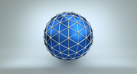 Blue sphere and polygonal wireframe 3D illustration