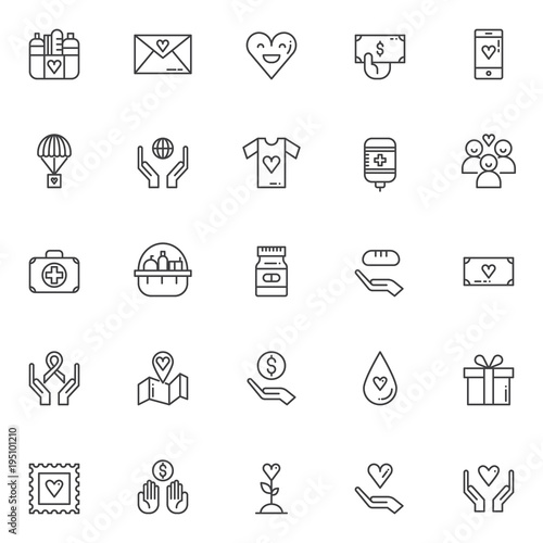 Charity Elements Outline Icons Set Linear Style Symbols Collection