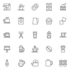 Coffee shop elements outline icons set. linear style symbols collection, line signs pack. vector graphics. Set includes icons as Sweet cookies, Coffee machine and coffee cup, Sugar bag, latte drink