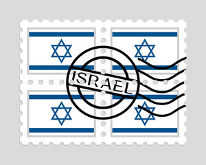 Israel flag on postage stamps