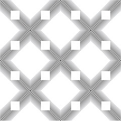 A strict geometric ornament is created from small squares in contrasting colors. Black and white seamless pattern