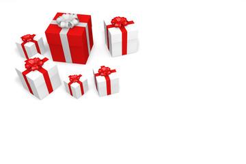 ein rote geschenkkarton und die weiße kartons