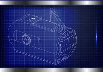 Camera on blue