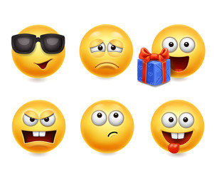 Smiley face icons. Funny faces 3d set, Cute yellow facial expressions collection 4