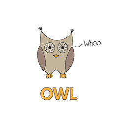 Cartoon Owl Flashcard for Children